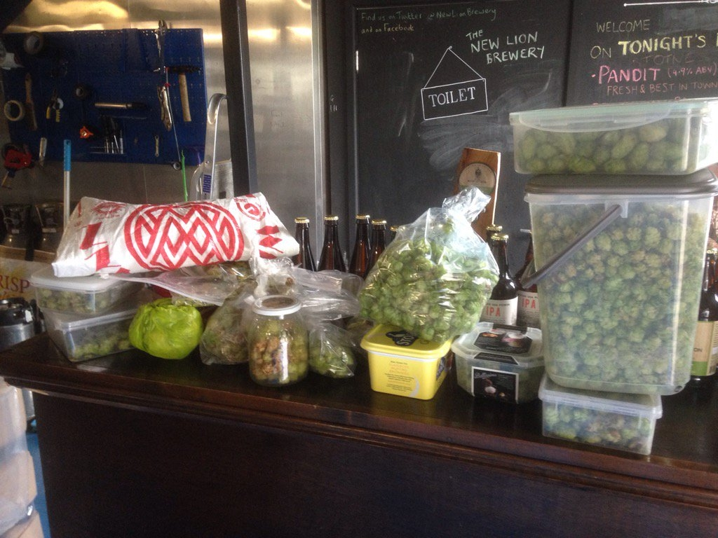 What 1,375g of fresh hops harvested from our patchwork hop farm look like...